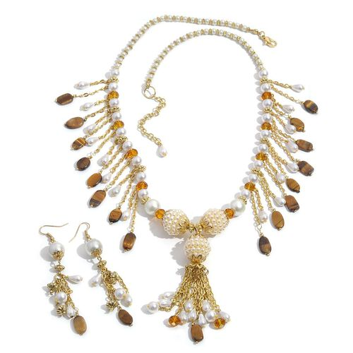 (Option 2) Jewels of India Glass Pearl, Tiger Eye and Glass Necklace (Size 24 with Extender) and Hook Earrings