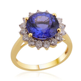 ILIANA 18K Y Gold AAA Tanzanite (Rnd 4.25 Ct), Diamond Ring 5.000 Ct.