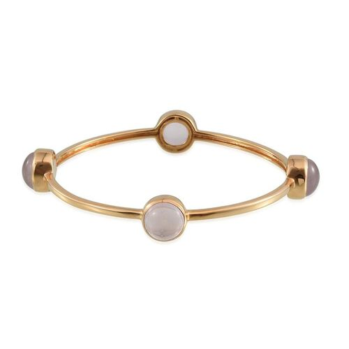 Rose Quartz (Rnd) Bangle (Size 7.5) in 14K Gold Overlay Sterling Silver 15.000 Ct.