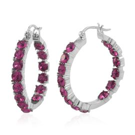 J Francis Crystal from Swarovski - Fuchsia Crystal (Rnd) Hoop Earrings (with Clasp) in ION Plated Stainless Steel