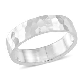 Thai Rhodium Plated Sterling Silver Diamond Cut Band Ring, Silver wt 5.20 Gms.