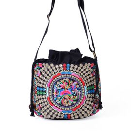 Shanghai Collection - Multi Colour Bird and Floral Embroidered Crossbody Bag (Size 19.5x16.5x13 Cm)
