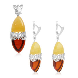 Baltic Multi Colour Amber (Trl) Pendant and Earrings (with Clasp) in Sterling Silver