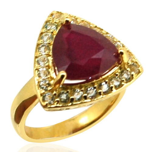 African Ruby (Trl 6.30 Ct), White Topaz Ring in 14K Gold Overlay Sterling Silver 7.250 Ct.
