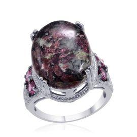 Russian Eudialyte (Ovl 11.00 Ct), Rhodolite Garnet Ring in Platinum Bond 12.250 Ct.