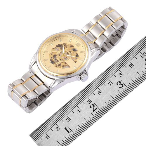 GENOA Automatic Skeleton Golden Colour Dial with Pink Austrian Crystal Water Resistant Watch in Yellow Gold Tone With Chain Strap