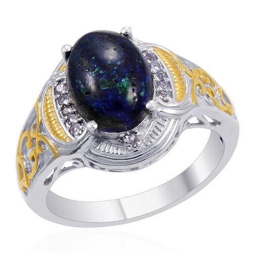 Designer Collection Azurite (Ovl 4.76 Ct), Tanzanite Ring in 14K YG Platinum Overlay Sterling Silver 5.090 Ct.