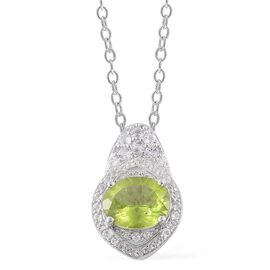 Hebei Peridot (Ovl 2.75 Ct), White Topaz Pendant With Chain in Platinum Overlay Sterling Silver 3.620 Ct.