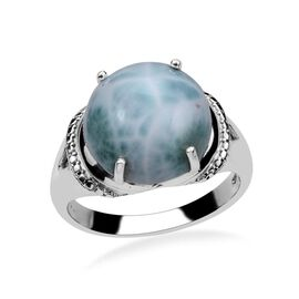 Larimar (Rnd) Solitaire Ring in Platinum Overlay Sterling Silver 8.750 Ct.