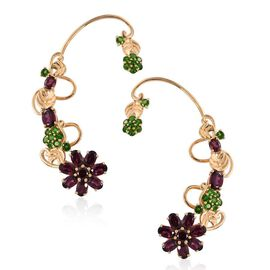 Stefy Rhodolite Garnet (Ovl), Russian Diopside and Pink Sapphire Earrings (with Push Back) in 14K Gold Overlay Sterling Silver 13.500 Ct.