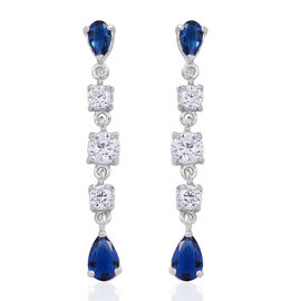 ELANZA AAA Simulated Blue Sapphire (Pear), Simulated White Diamond Earrings (with Push Back) in Rhodium Plated Sterling Silver