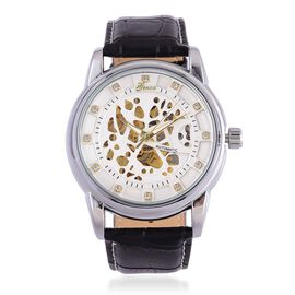 GENOA Automatic Skeleton White Austrian Crystal Studded White Dial Water Resistant Watch in Silver Tone with Stainless Steel Back and Genuine Black Leather Strap