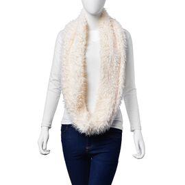 Faux Fur White Colour Scarf (Size 58x15 Cm)