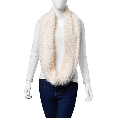 Faux Fur White Colour Scarf (Size 58x15 Cm)