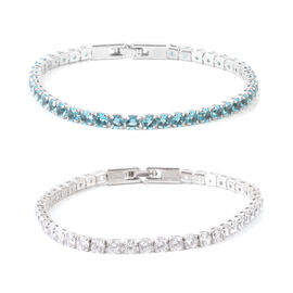 Set of 2 - AAA Simulated Apatite (Rnd), Simulated Diamond Tennis Bracelet (Size 7.5) in Silver Tone