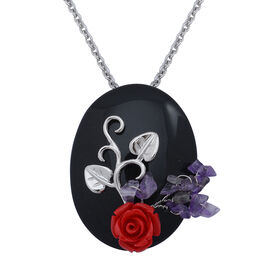 Black Obsedian, Amethyst Brooch or Pendant in Silver Tone with Stainless Steel Chain and Resin
