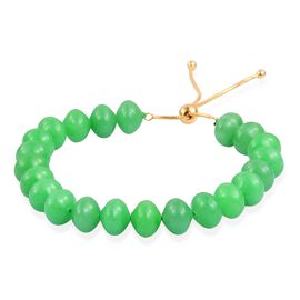 Very Rare AAA Green Jade Adjustable Bracelet (Size 6.5 to 8) in Yellow Gold Overlay Sterling Silver 140.000 Ct.
