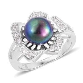 Fresh Water Peacock Pearl and Simulated White Diamond Ring in Rhodium Plated Sterling Silver