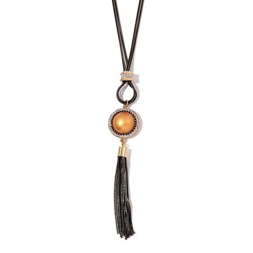 Simulated Golden Pearl and White Austrian Crystal Tassel Necklace (Size 28 with 2 inch Extender) in Yellow Gold Tone