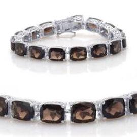 Brazilian Smoky Quartz (Cush) Bracelet in Rhodium Plated Sterling Silver (Size 7.0) 75.000 Ct.