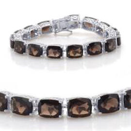Brazilian Smoky Quartz (Cush) Bracelet in Rhodium Plated Sterling Silver (Size 7.5) 78.500 Ct.