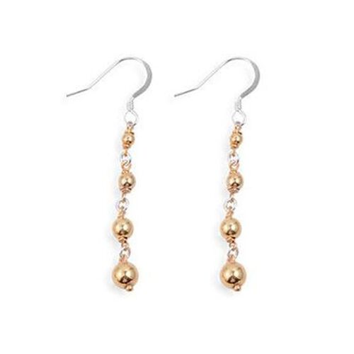 Vicenza Collection Yellow Gold Overlay and Sterling Silver Hook Earrings, Silver wt 2.54 Gms.