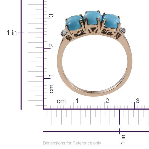 9K Y Gold Arizona Sleeping Beauty Turquoise (Ovl 2.45 Ct), Diamond Ring 2.500 Ct.