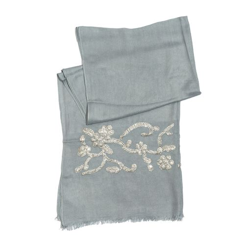 Silver Colour Sequins Embroidered Green Colour Scarf (Size 180x70 Cm)