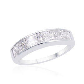 9K W Gold (Bgt) Half Eternity Band Ring Made with SWAROVSKI ZIRCONIA 2.110 Ct.