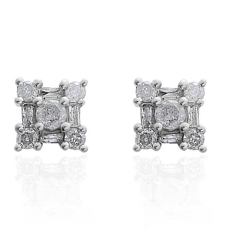 9K W Gold SGL Certified Diamond (Rnd) (I3/ G-H) Stud Earrings 0.500 Ct.