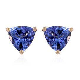 14K Yellow Gold 2.25 Carat AA Tanzanite Trillion Stud Earrings (with Push Back)