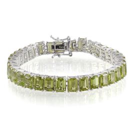 Hebei Peridot (Oct) Bracelet in Platinum Overlay Sterling Silver (Size 7) 35.000 Ct.