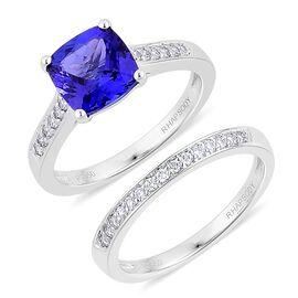 Set of 2 - RHAPSODY 950 Platinum 2.50 Carat AAAA Cushion Tanzanite With Diamond VS E-F Bridal Set Ring