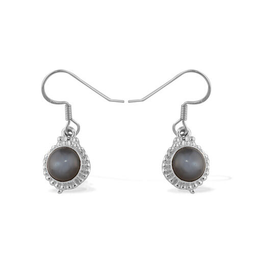 ARTISAN CRAFTED Sri Lankan Titanium Moonstone Sterling Silver Earring  4.023  Ct.