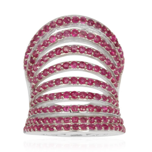 Burmese Ruby (Rnd) Ring in Rhodium Plated Sterling Silver 5.000 Ct.