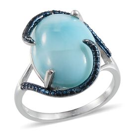 Larimar (Ovl 13.00 Ct), Blue Diamond Ring in Platinum Overlay Sterling Silver 13.020 Ct.