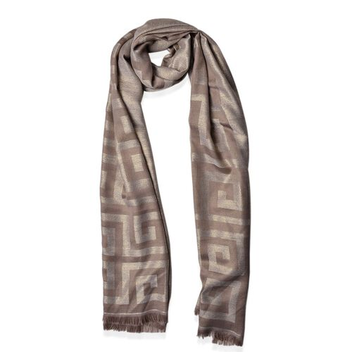 New For Season - Wall Pattern Grey Colour Scarf (Size 180x70 Cm)