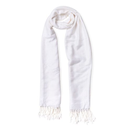 White Colour Knitted Bandana Pattern Scarf with Tassels (Size 170X70 Cm)