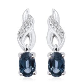 Rare Odisha Teal Kyanite (Ovl) Earrings (with Push Back) in Platinum Overlay Sterling Silver 1.000 Ct.