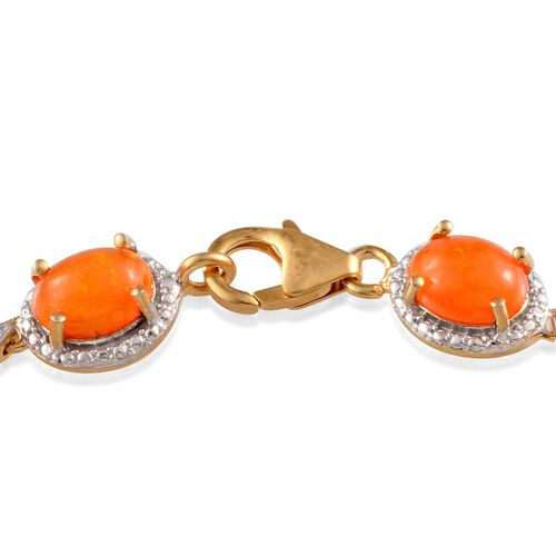 Orange Ethiopian Opal (Ovl) Bracelet in 14K Gold Overlay Sterling Silver (Size 7.5) 9.000 Ct.