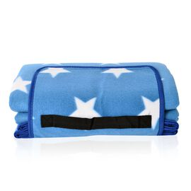 Waterproof Picnic Blanket, Oeko-Tex Certified, Blue with White Star Print (Family-Size 165x130 Cm)