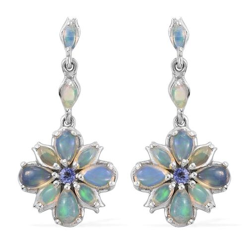 Ethiopian Welo Opal (Pear), Tanzanite Earrings (with Push Back) in Platinum Overlay Sterling Silver 2.380 Ct.