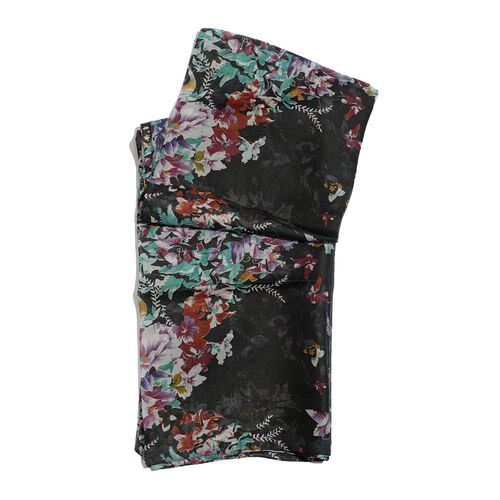 100% Mulberry Silk Multi Colour Floral and Leaves Printed Black Colour Scarf (Size 180x100 Cm)