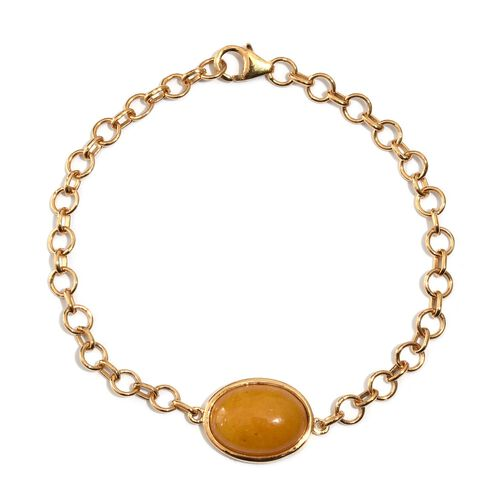 Yellow Jade (Ovl) Bracelet (Size 7.5) in 14K Gold Overlay Sterling Silver 9.500 Ct.