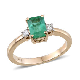 14K Y Gold Boyaca Colombian Emerald (Oct 1.10 Ct), Diamond Ring 1.250 Ct.