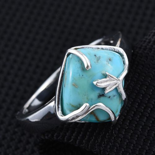 Arizona Matrix Turquoise (Cush) Solitaire Ring in Platinum Overlay Sterling Silver 4.500 Ct.