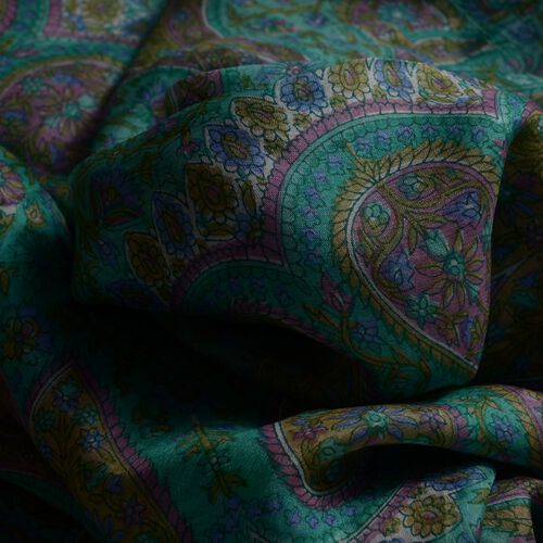 100% Mulberry Silk Multi Colour Floral and Paisley Pattern Green and Lilac Colour Scarf (Size 180x100 Cm)