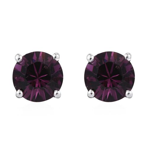 J Francis Crystal from Swarovski - Amethyst Colour Crystal (Rnd) Stud Earrings (with Push Back) in Platinum Overlay Sterling Silver