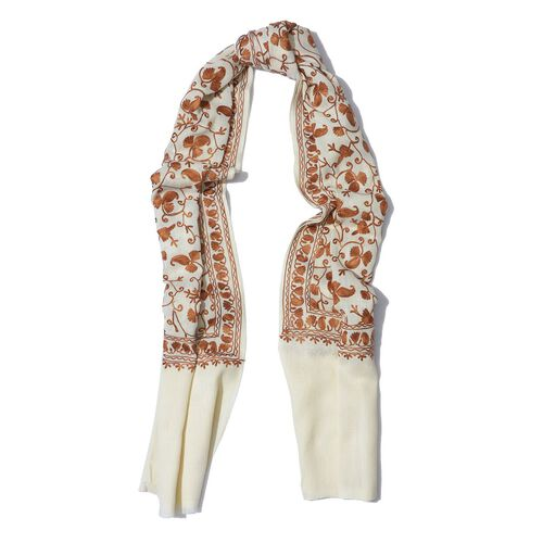 100% Merino Wool Cream Colour Embroidered Scarf (Size 200x70 Cm)
