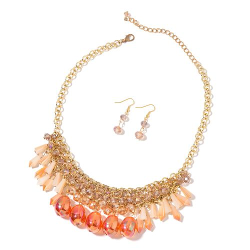 AAA Simulated Fire Opal, Champagne and Multi Colour Beads Necklace (Size 18 with 2 inch Extender) and Hook Earrings in Yellow Gold Tone